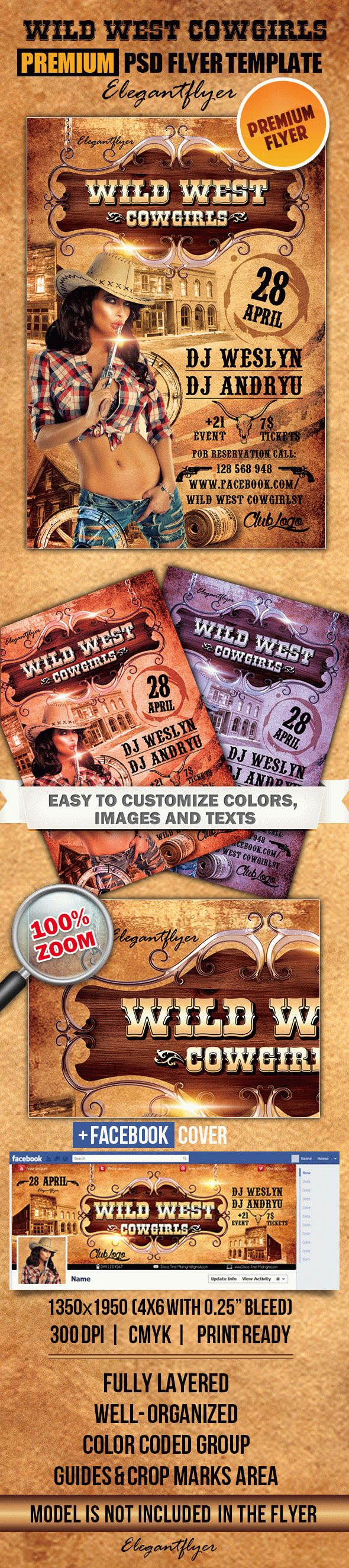 Wild West Cowgirls – Flyer PSD Template