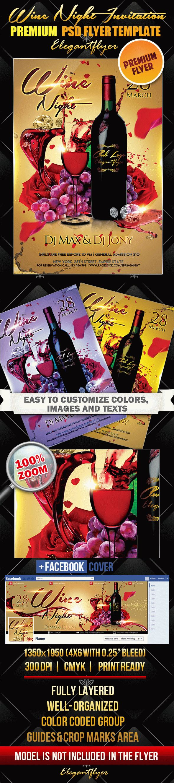 Wine Night Invitation – Flyer PSD Template