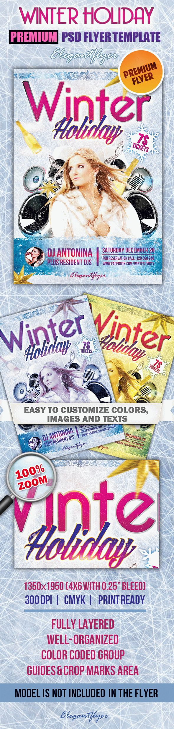 Winter Holiday – Premium Club flyer PSD Template