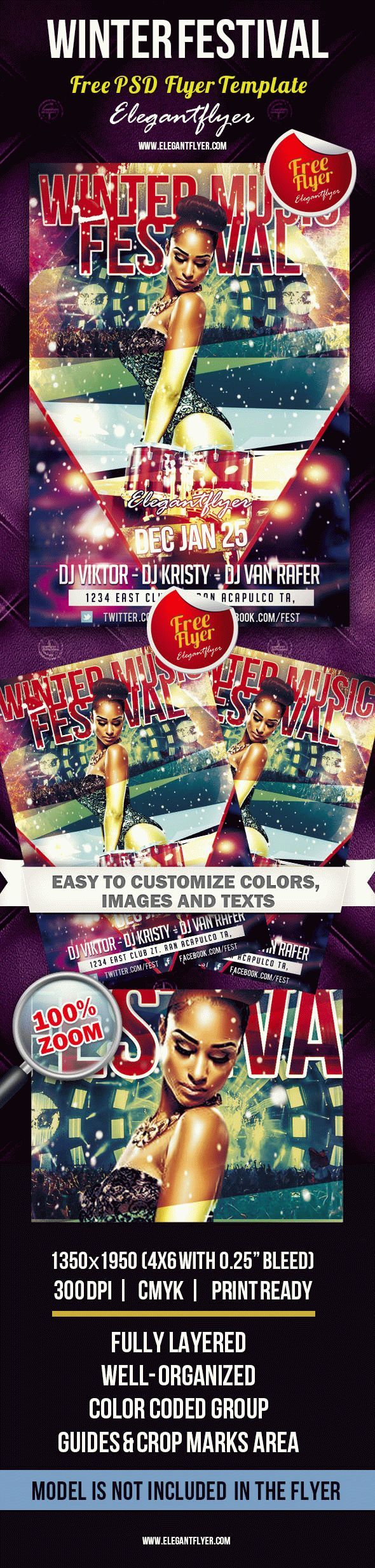 Winter Music Festival – Free Club flyer PSD Template