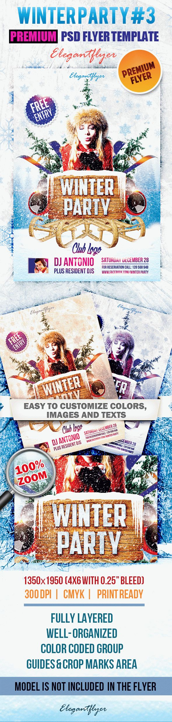 Winter Party #3 – Premium Club flyer PSD Template