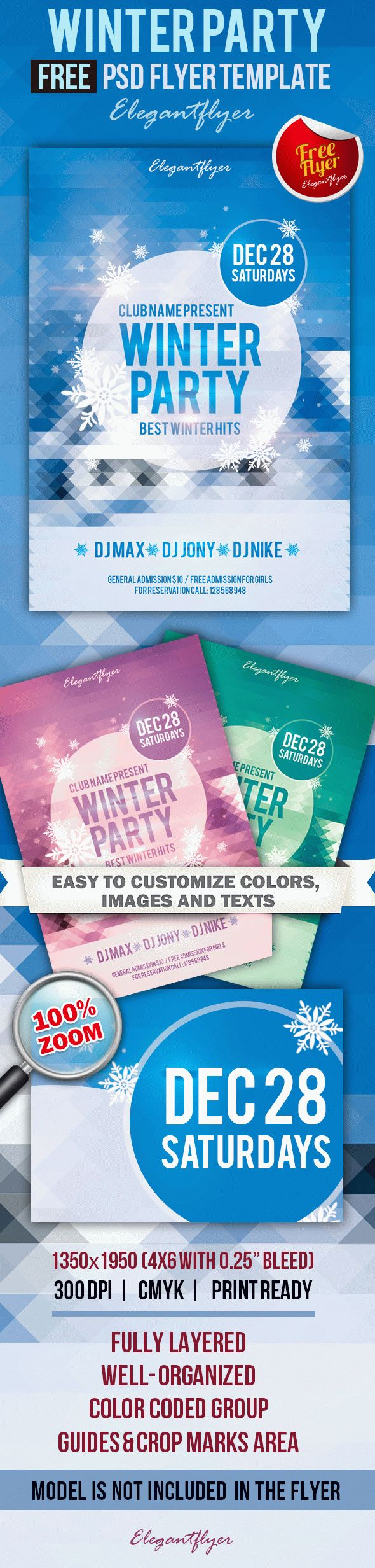 Free Winter Party Flyer PSD Template