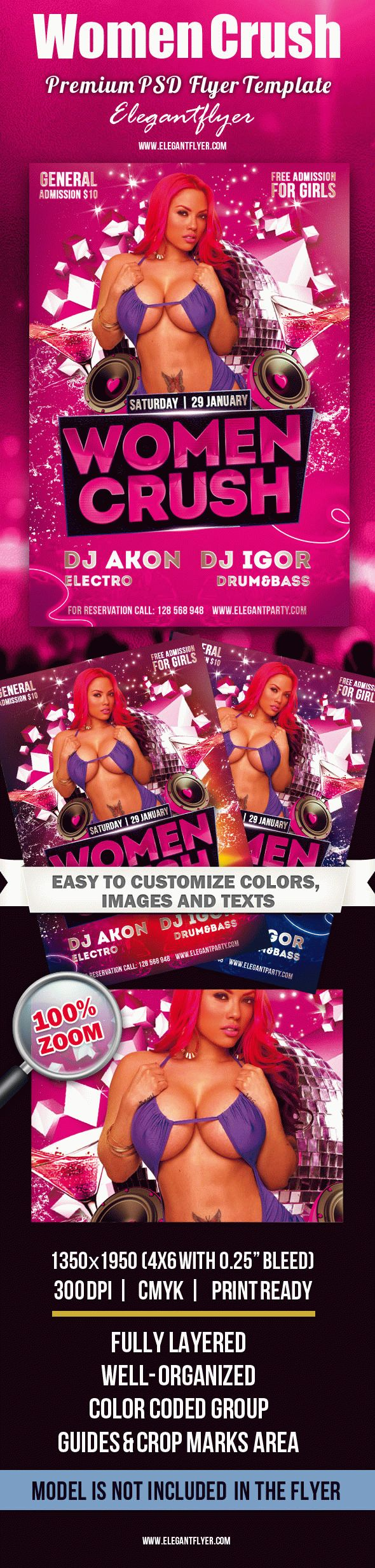 Women Crush – Premium Club flyer PSD Template