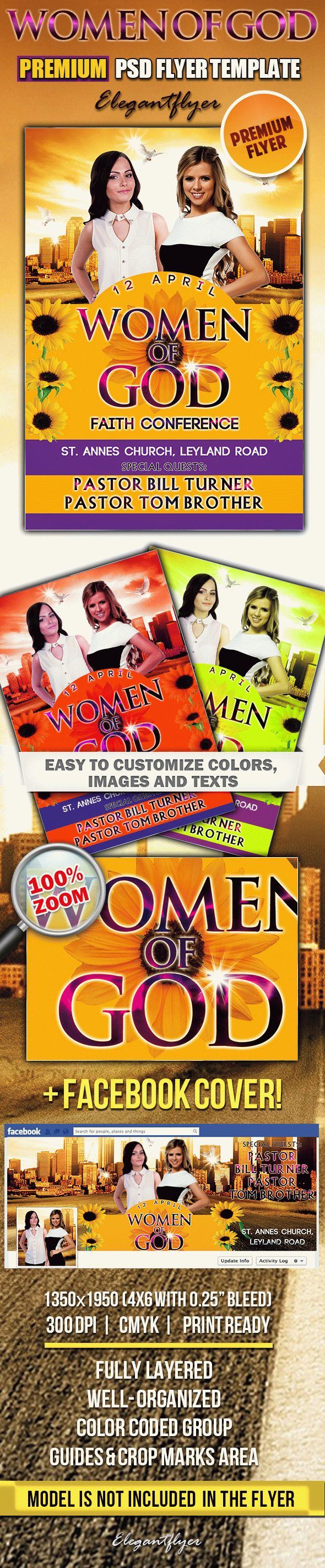 Women of God PSD Flyer Templates Facebook Cover by ElegantFlyer – Conference Flyer Template