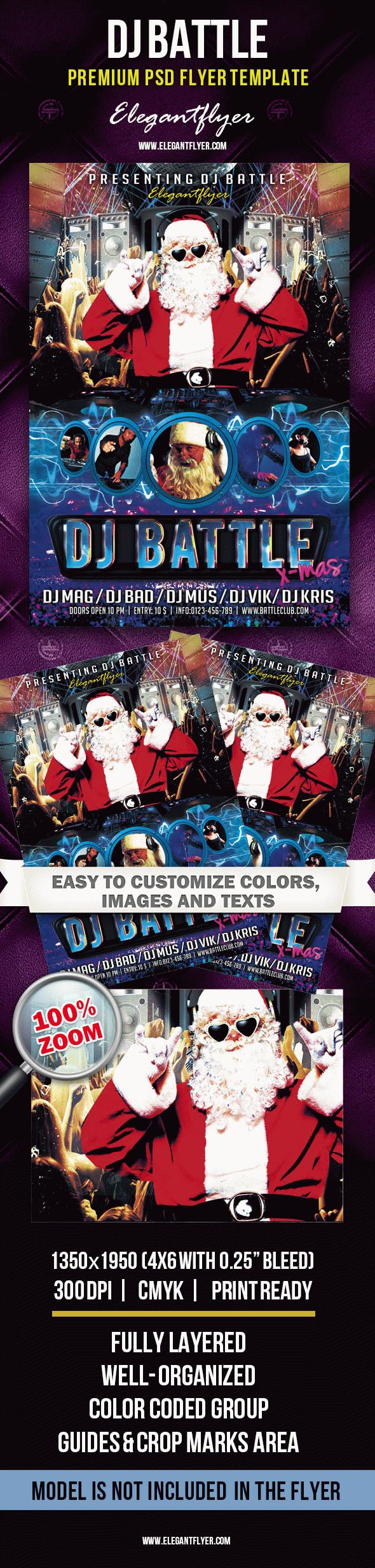 X-Mas Dj Battle – Premium Club flyer PSD Template