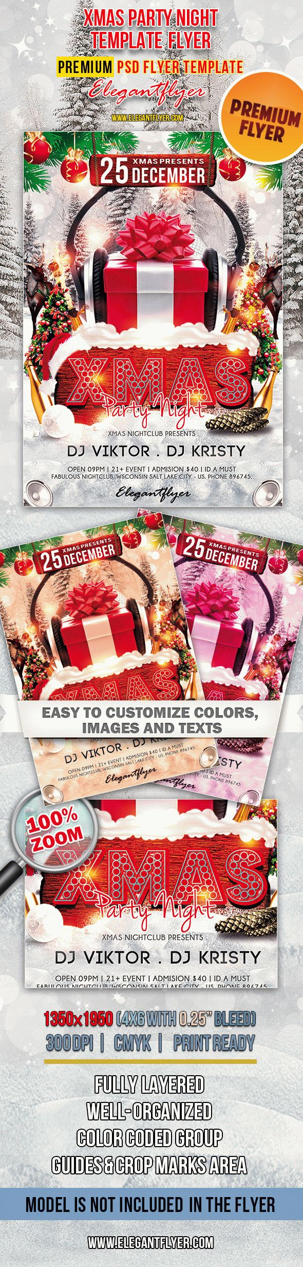 Xmas Party Night – Premium Club flyer PSD Template