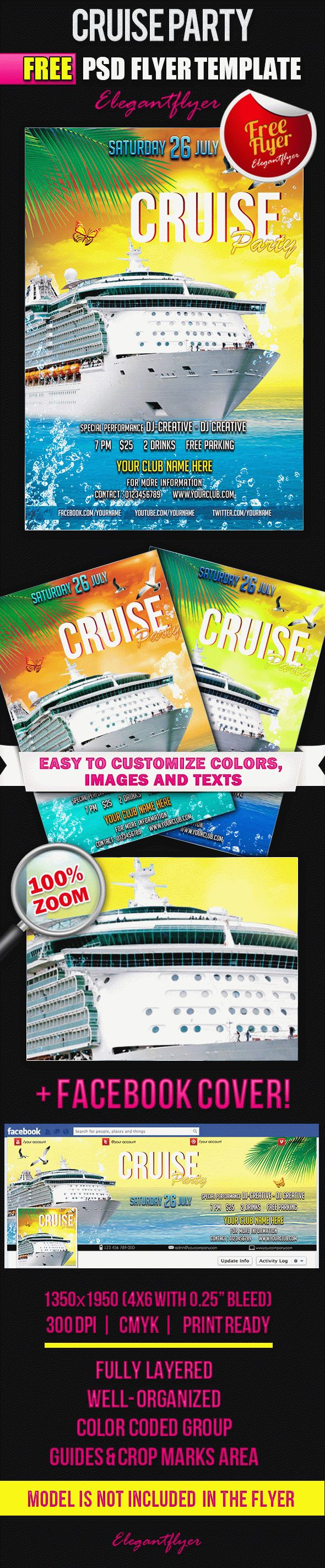 Cruise Party – Free Flyer PSD Template + Facebook Cover