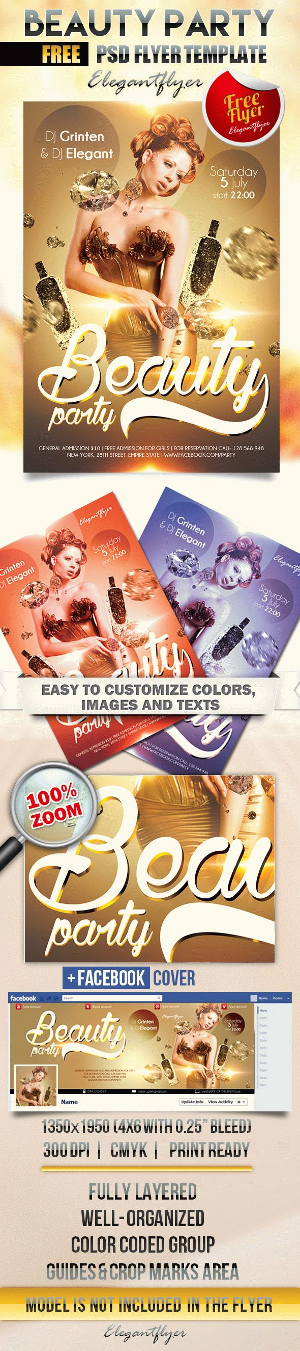 Beauty party – Flyer PSD Template + Facebook Cover