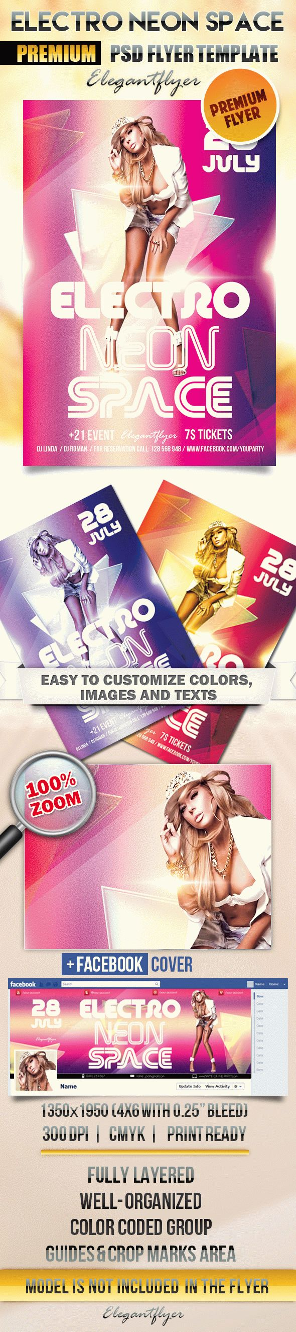 Electro Neon Space – Flyer PSD Template + Facebook Cover