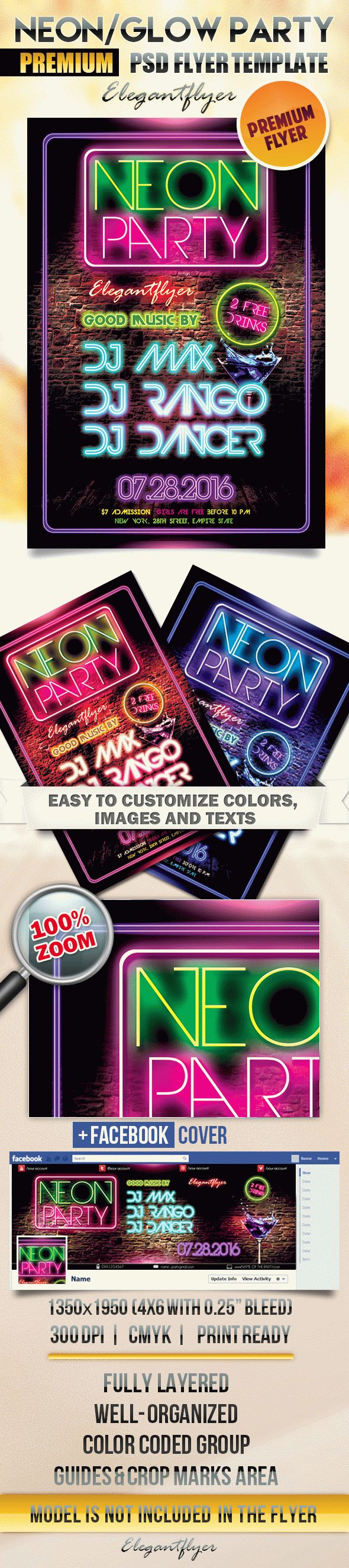 Neon/Glow Party Flyer PSD Template + Facebook Cover