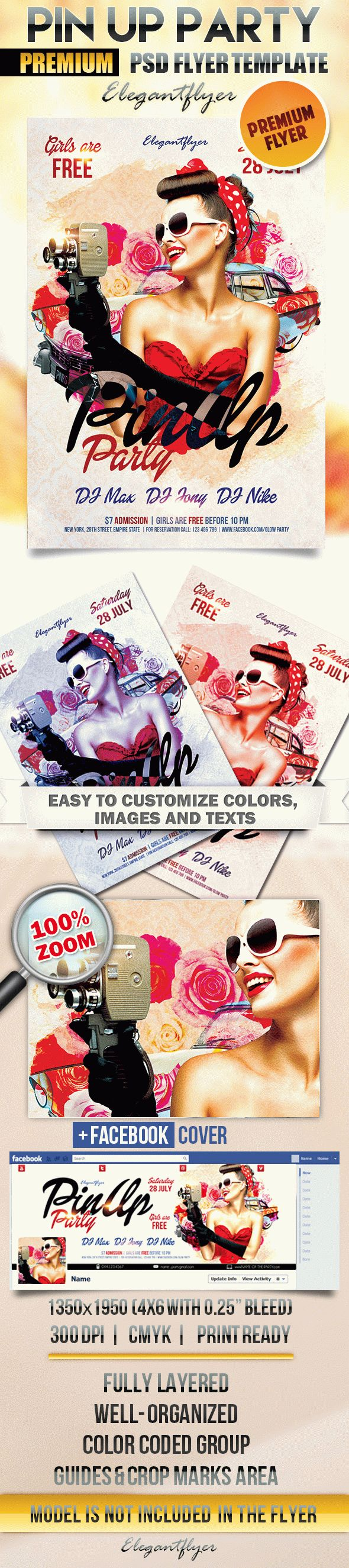 Pin Up Party – Flyer PSD Template + Facebook Cover