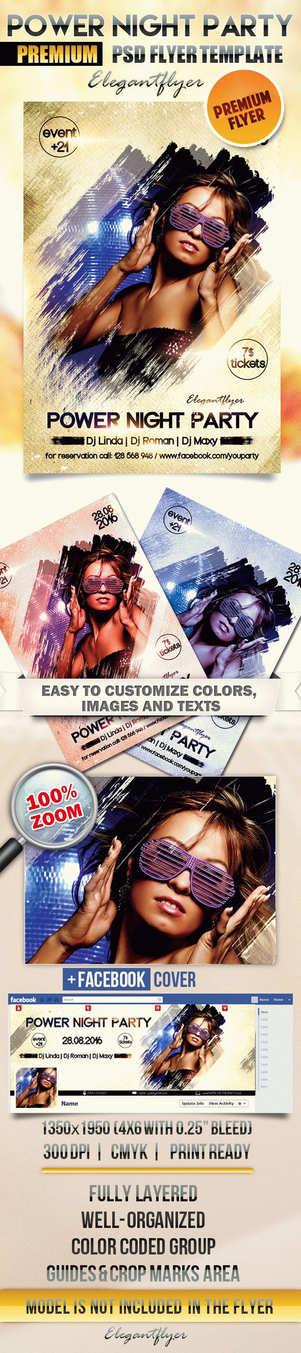Power Night Party – Flyer PSD Template + Facebook Cover