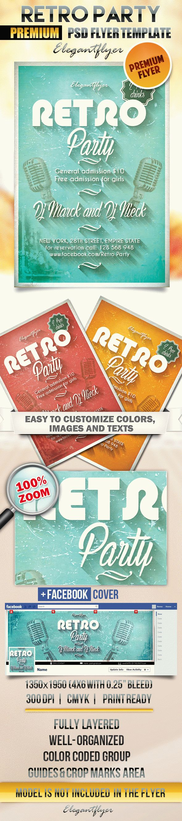 Retro Party 2 – Flyer PSD Template + Facebook Cover