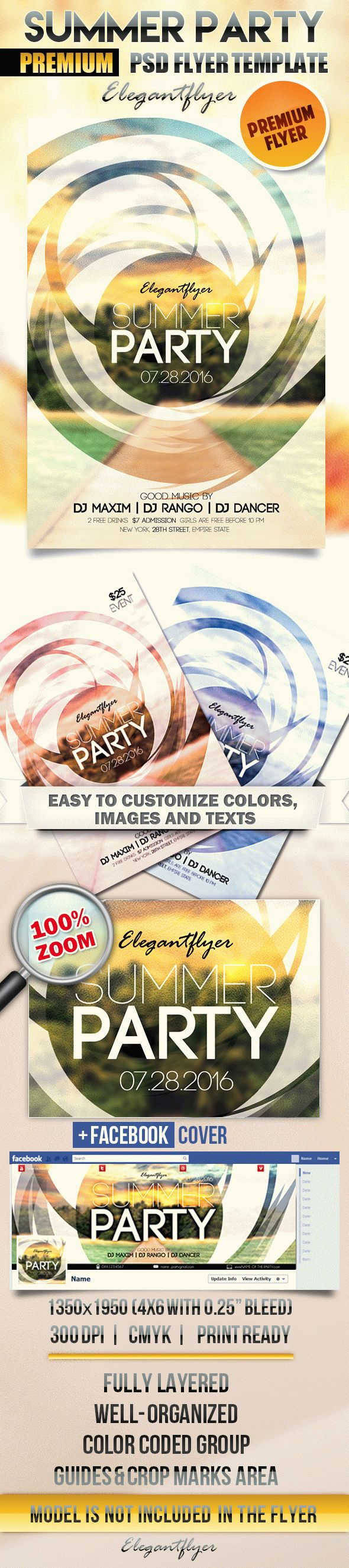 Summer party 6 – Flyer PSD Template + Facebook Cover