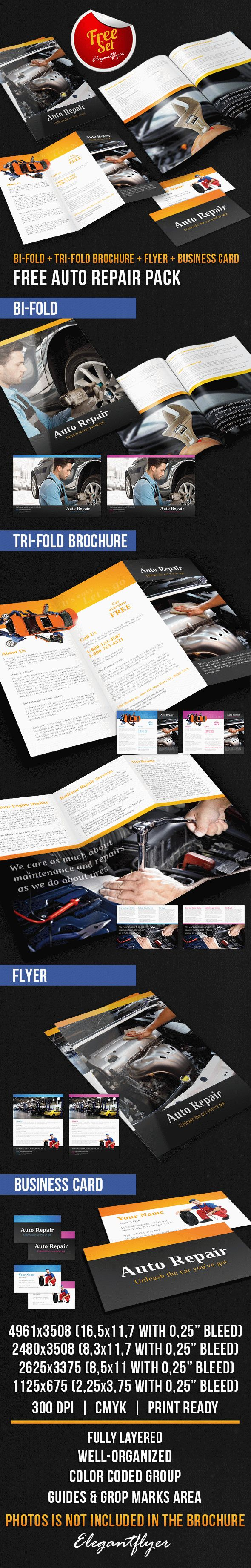 Auto Repair Brochure Pack – Free PSD Template