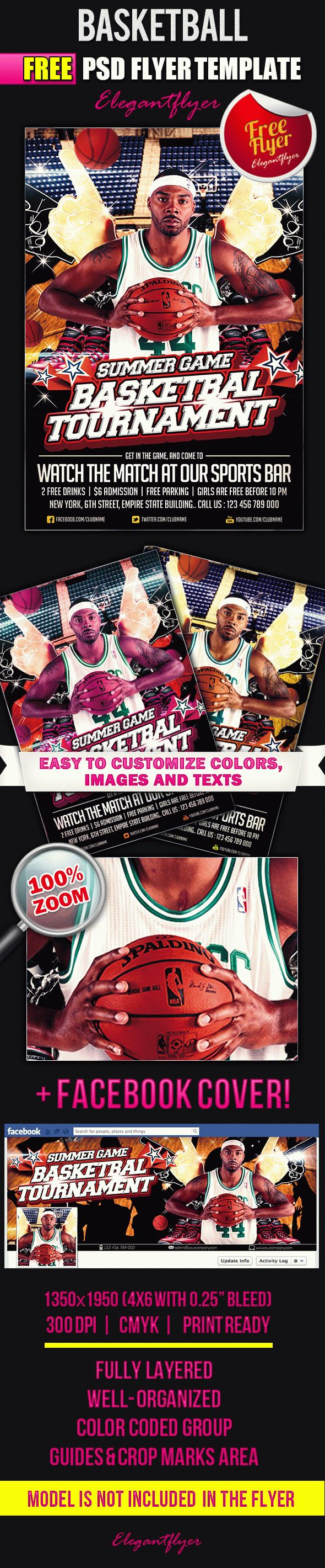 Basketball – Flyer PSD Template + Facebook Cover