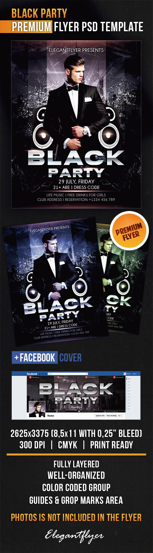 black party dresses psd flyer  u2013 by elegantflyer