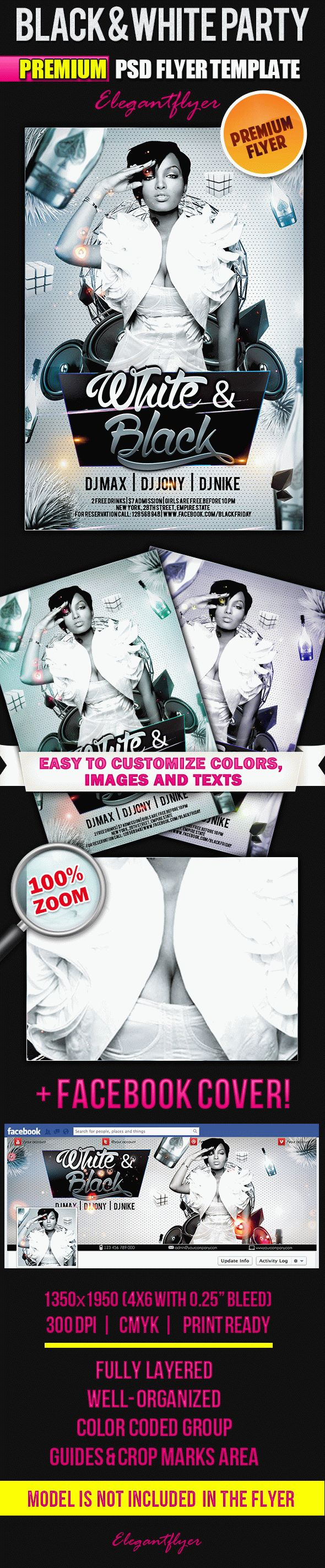 Black & White Party – Flyer PSD Template + Facebook Cover