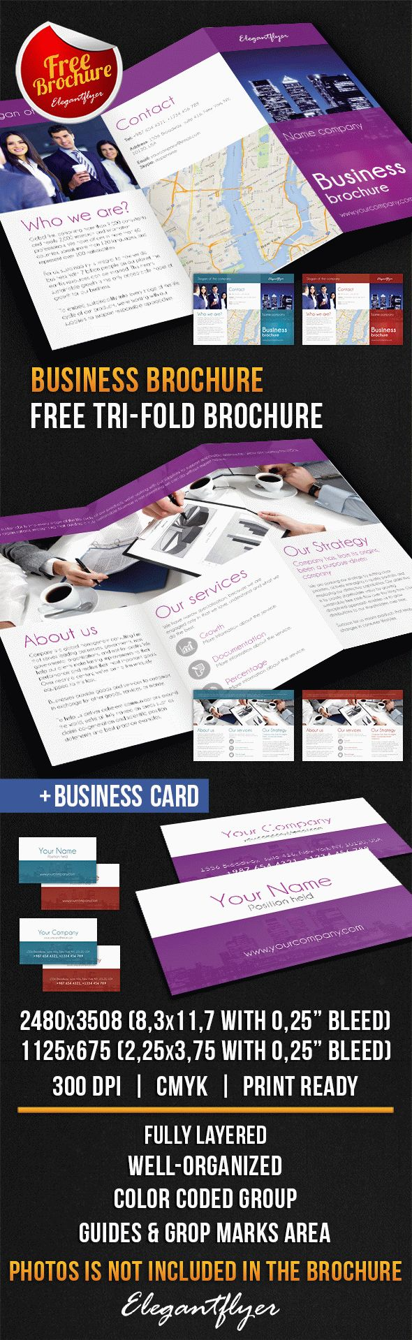 Business Tri-Fold Brochure – Free PSD Template