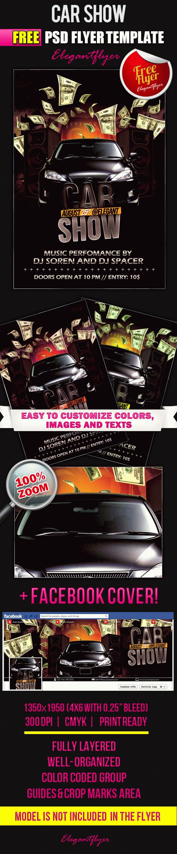 Car Show Free Flyer PSD Template Facebook Cover by ElegantFlyer – Car Flyer Template