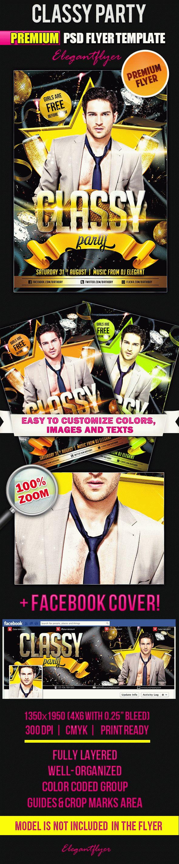 Classy Party – Flyer PSD Template + Facebook Cover