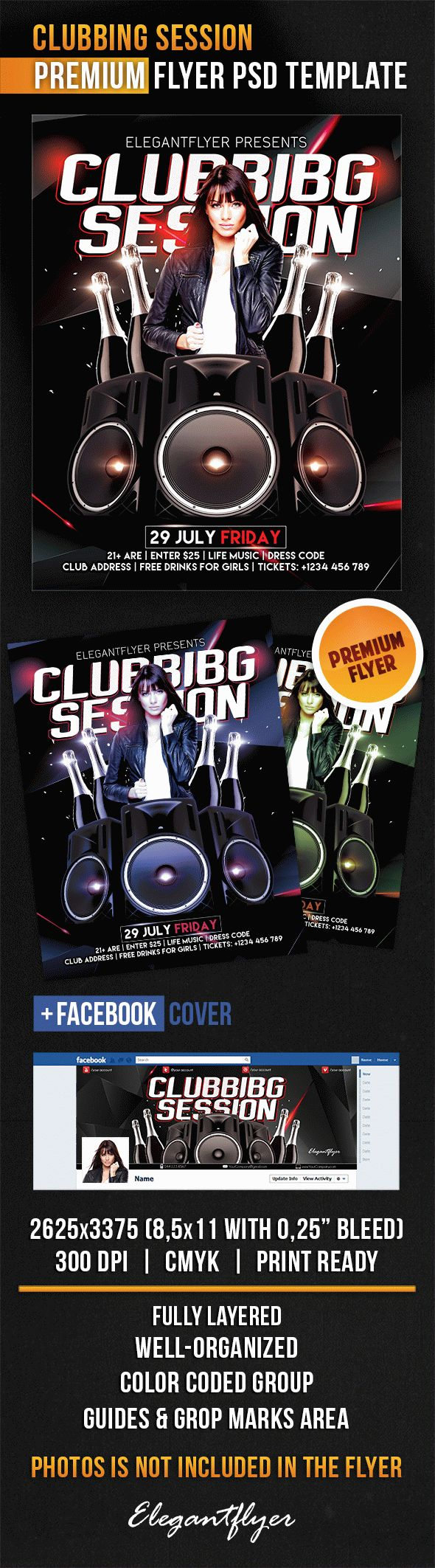 Clubbing Session – Flyer PSD Template + Facebook Cover