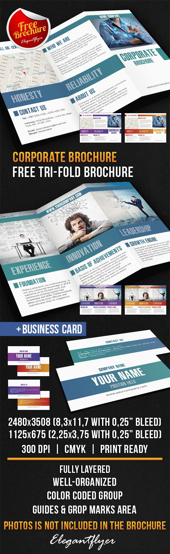 Corporate Tri-Fold Brochure Design V02 – Free PSD Template