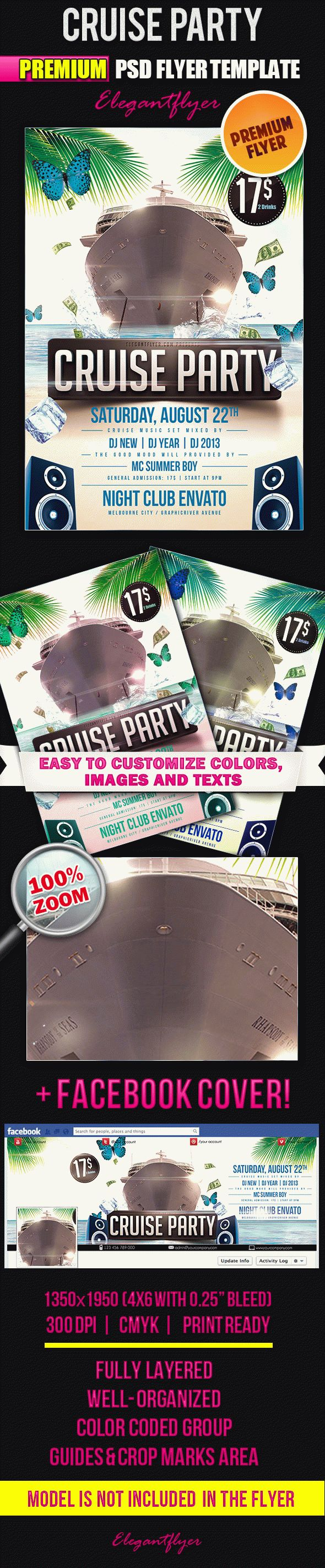 Cruise Party – Flyer PSD Template + Facebook Cover