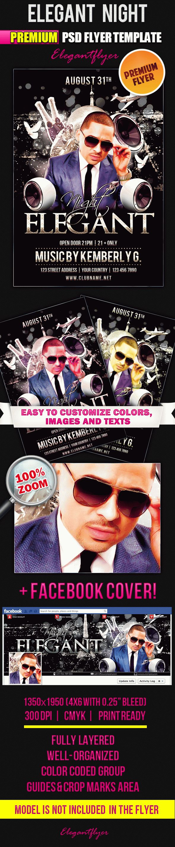 Elegant Night – Flyer PSD Template + Facebook Cover