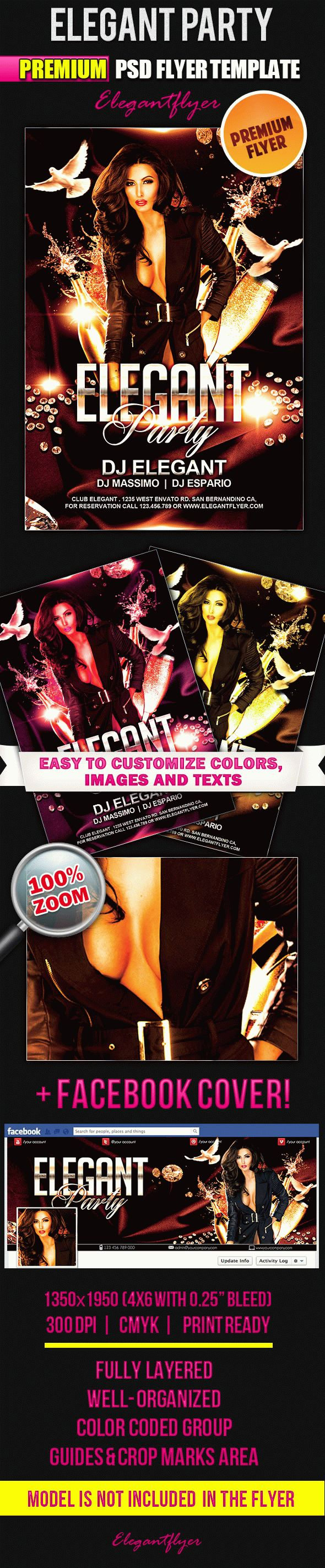Elegant Party – Flyer PSD Template + Facebook Cover