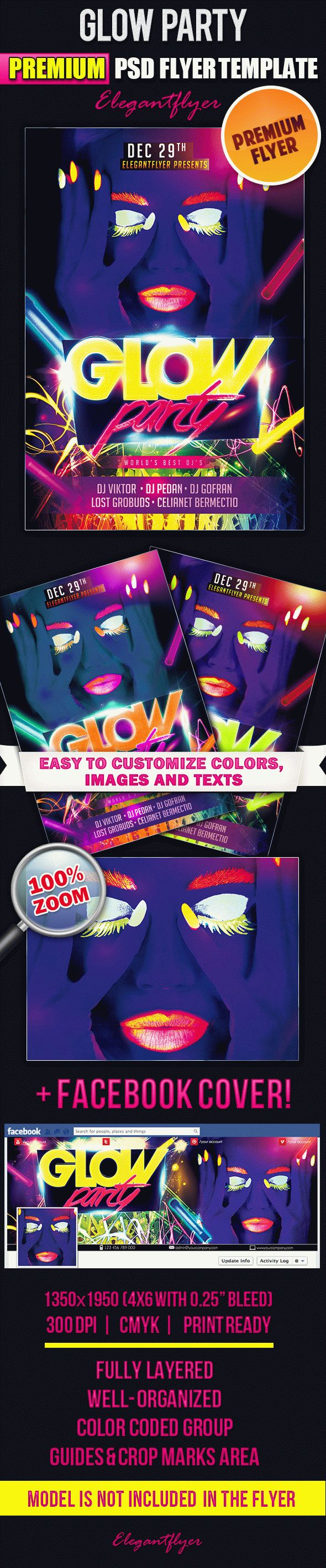 Glow Party – Flyer PSD Template + Facebook Cover