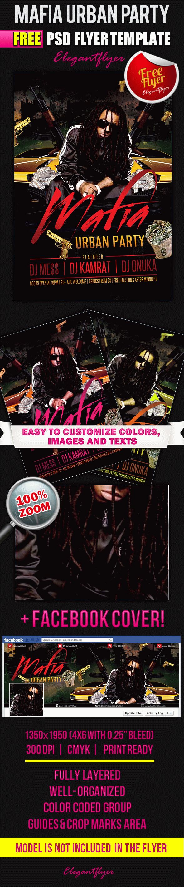 Mafia Urban Party – Flyer PSD Template + Facebook Cover