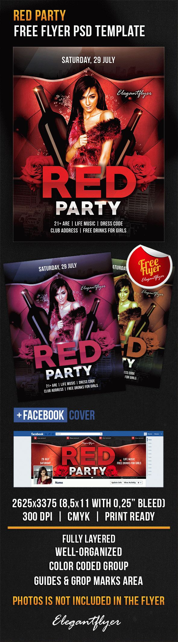 Red Party – Free Flyer PSD Template + Facebook Cover