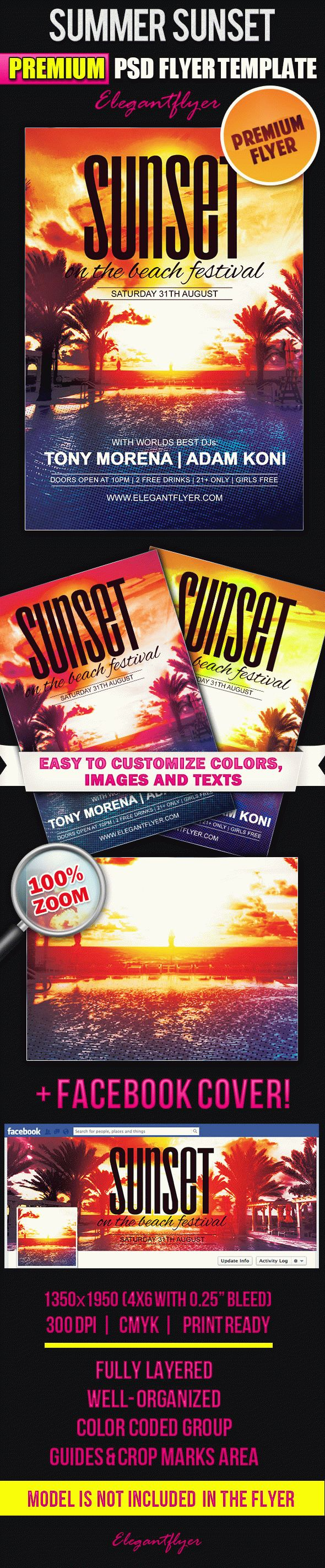 Summer Sunset – Flyer PSD Template + Facebook Cover
