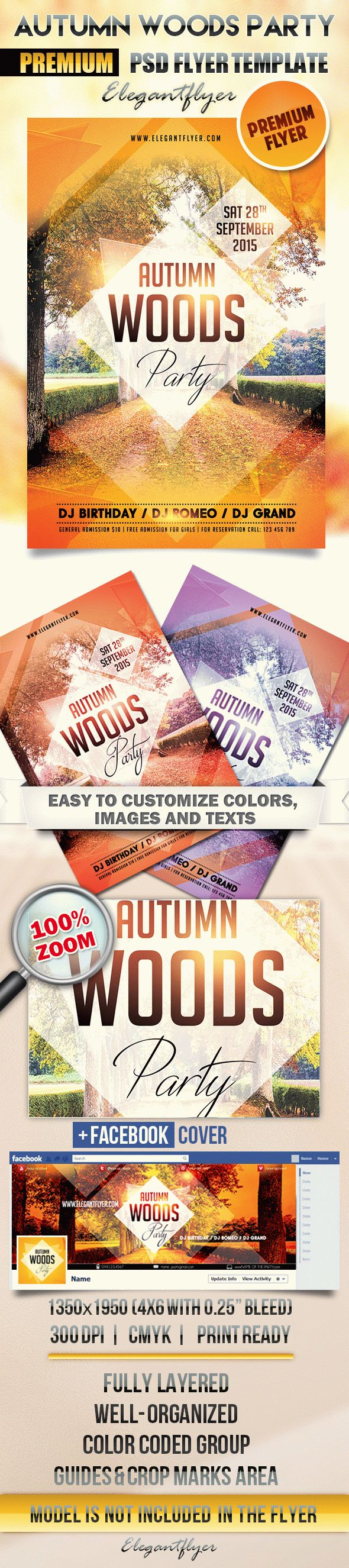 Autumn Woods Party – Flyer PSD Template