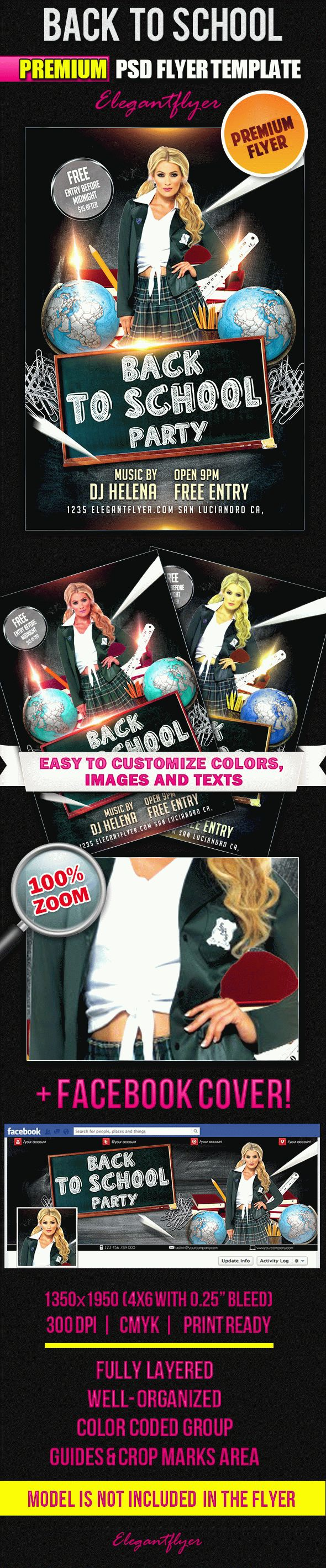Back to School Party PSD Flyer