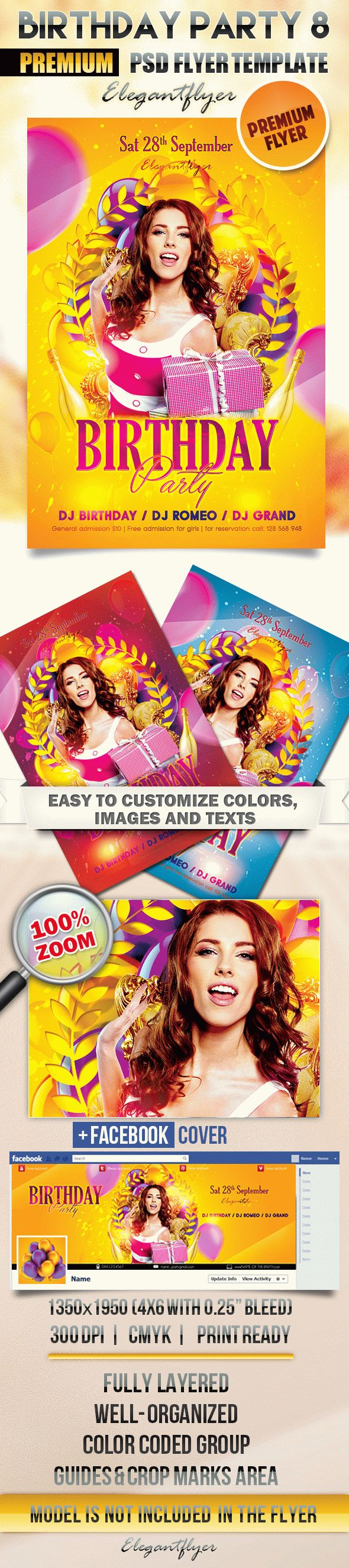 Birthday Party 8 – Flyer PSD Template + Facebook Cover