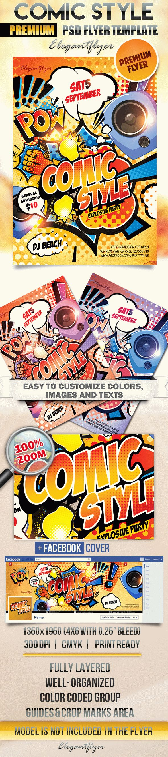 Comic style flyer psd template facebook cover by for Comic book page template psd