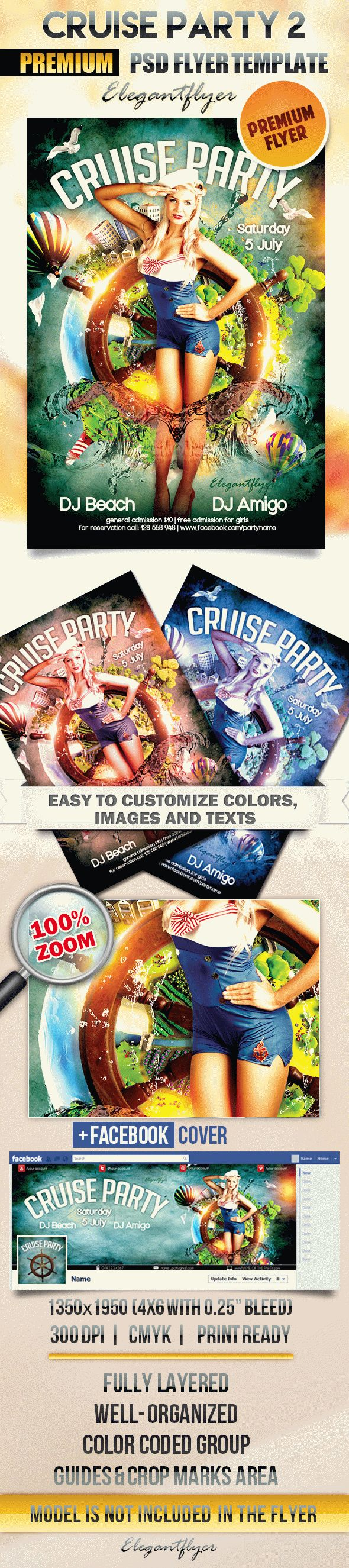 Cruise party 2 – Flyer PSD Template + Facebook Cover