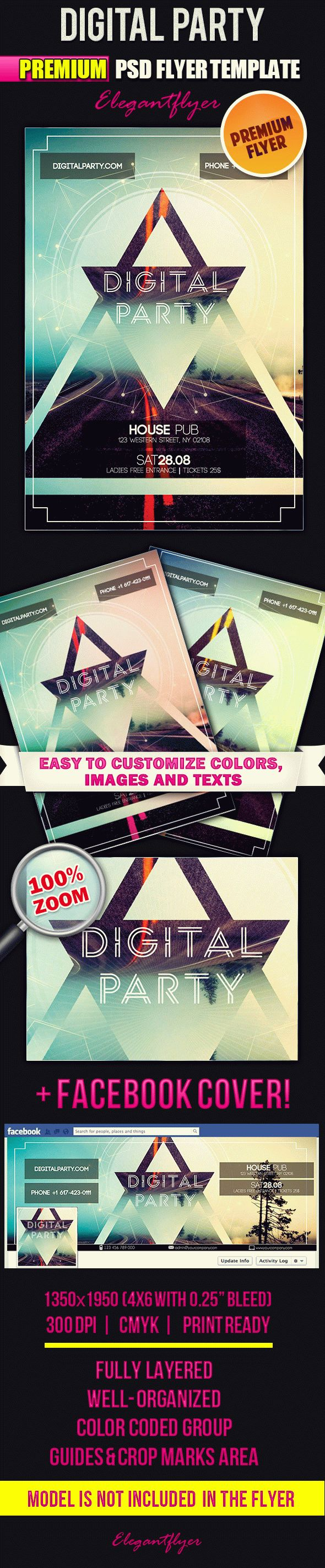 Digital Flyer Templates | Bigpreview Digital Party flyer psd template facebook cover