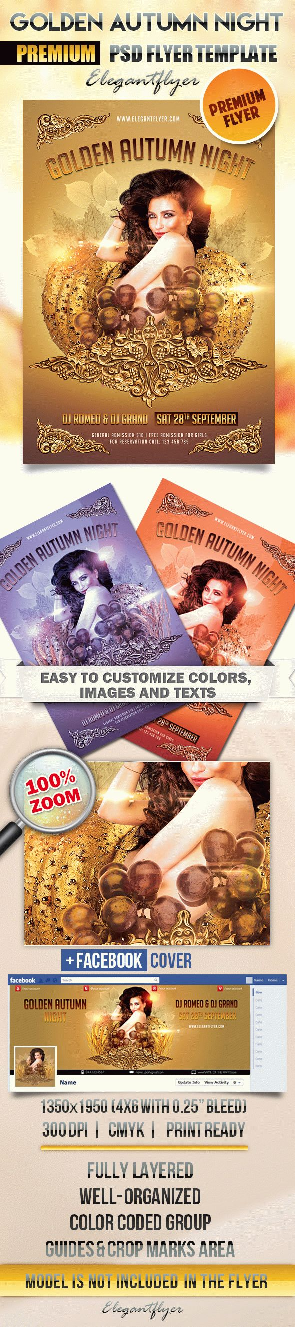 Golden Autumn Night – Flyer PSD Template + Facebook Cover
