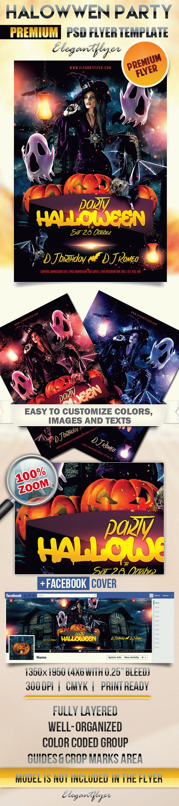 flyer for witch themed halloween party  u2013 by elegantflyer