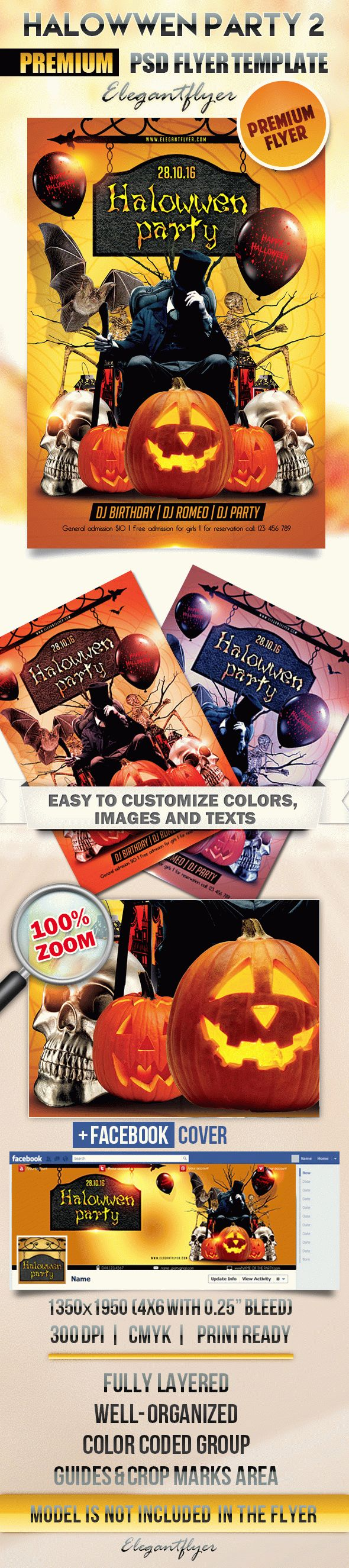 Halloween party 2 – Flyer PSD Template + Facebook Cover – by ...