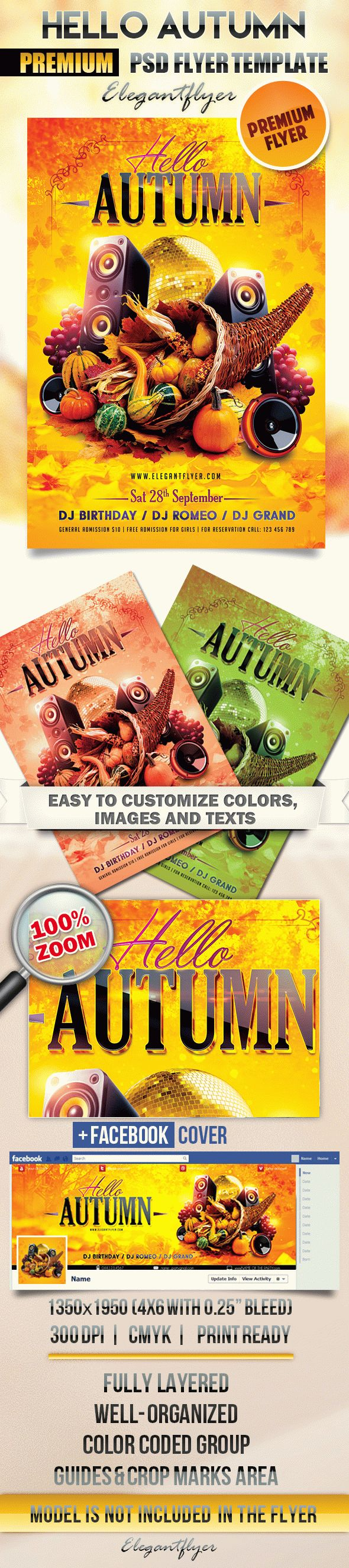 Hello Autumn – Flyer PSD Template + Facebook Cover