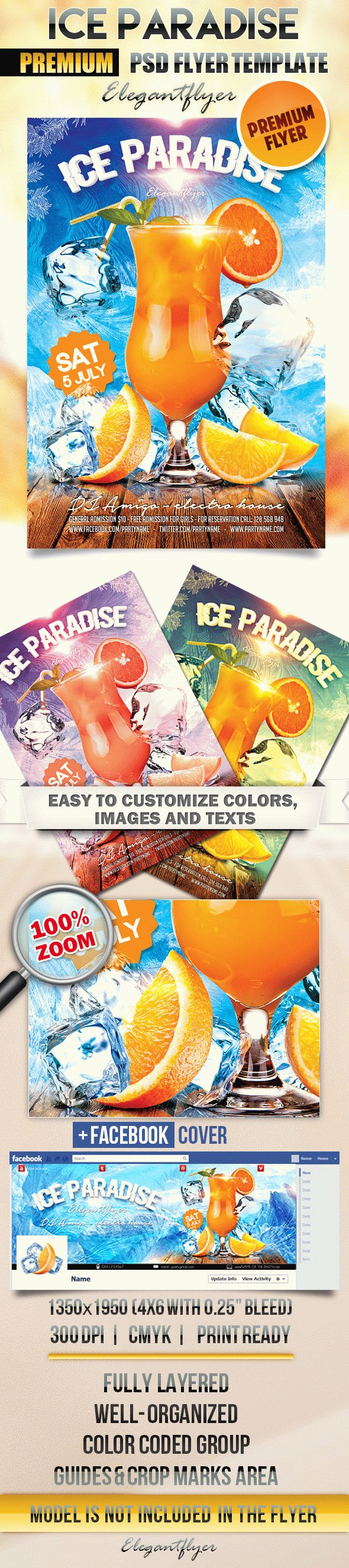 Ice Paradise – Flyer PSD Template + Facebook Cover