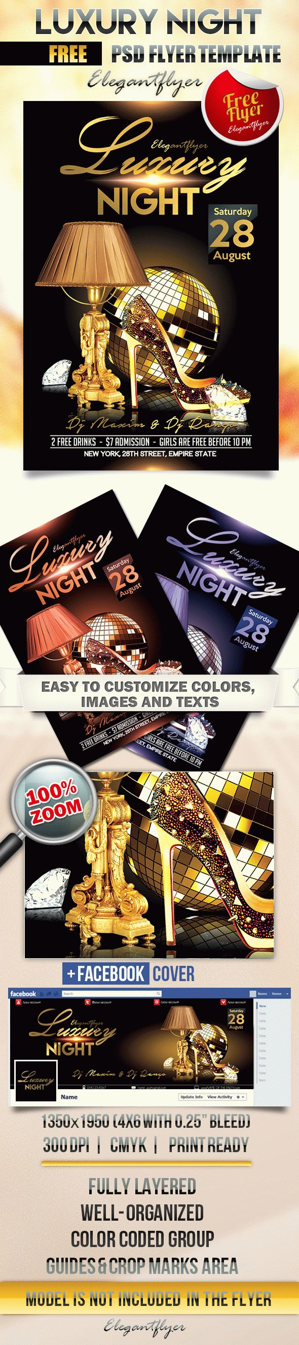 Luxury Night – Flyer PSD Template + Facebook Cover
