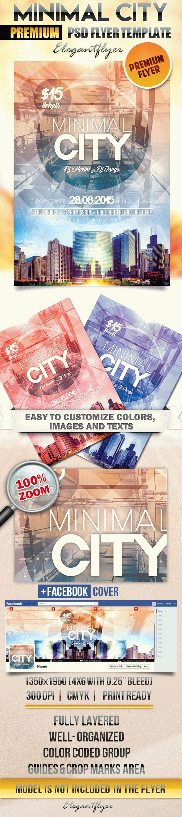Minimal City – Flyer PSD Template + Facebook Cover