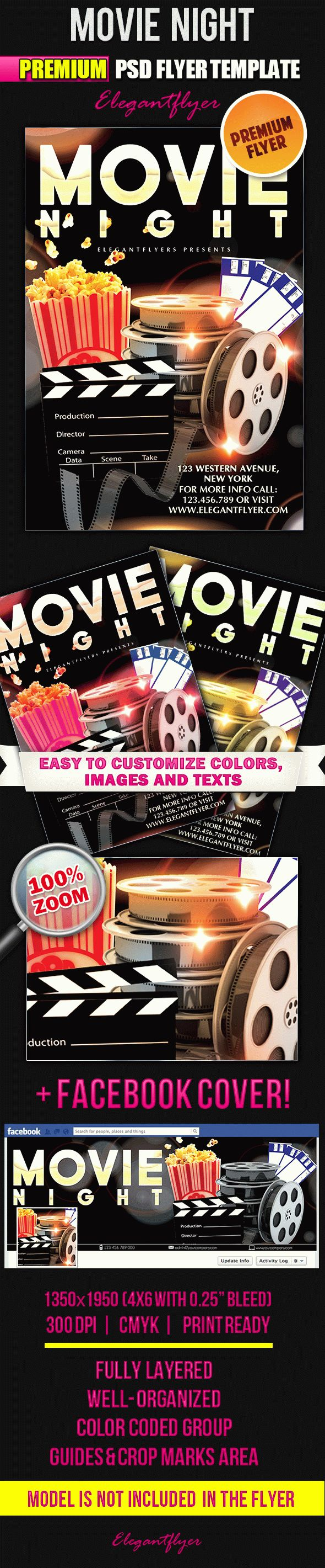 Movie Night – Flyer PSD Template + Facebook Cover