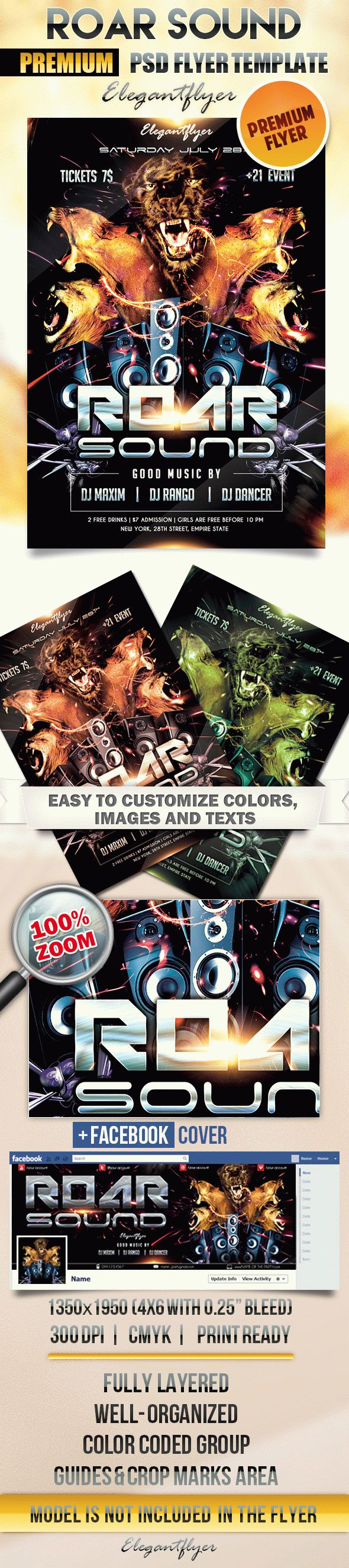 Roar sound – Flyer PSD Template + Facebook Cover