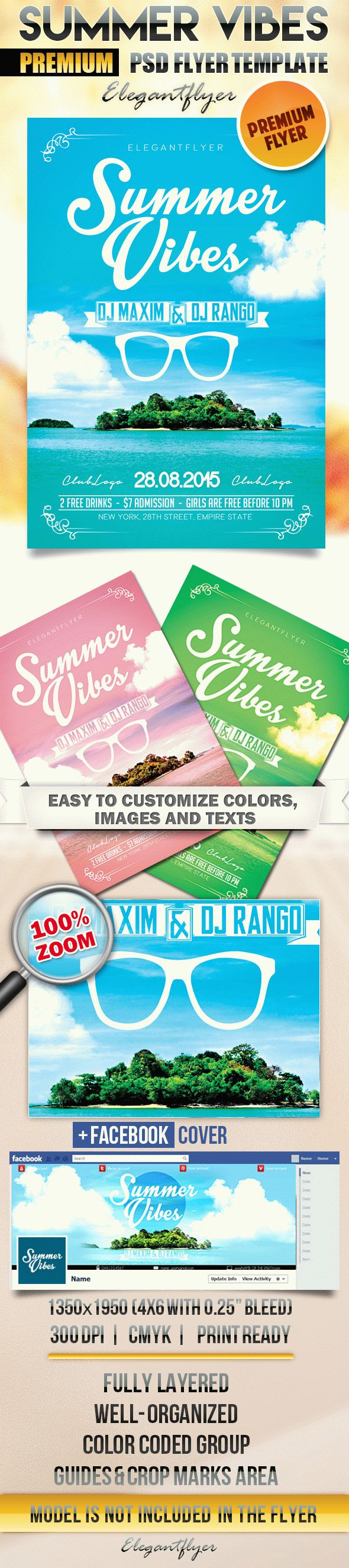 Summer Vibes – Flyer PSD Template + Facebook Cover
